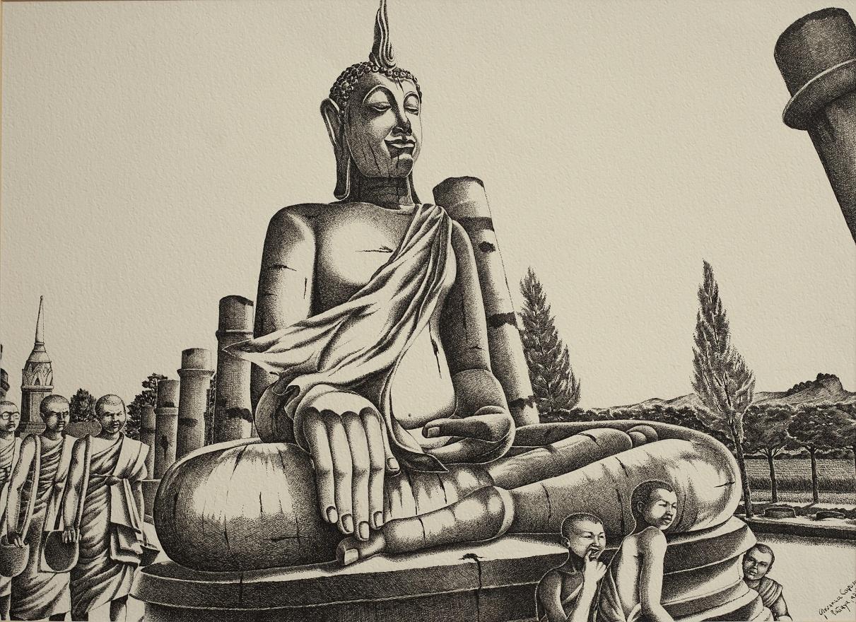 Buddha a Sukkotthai, Ink, 50×36 cm