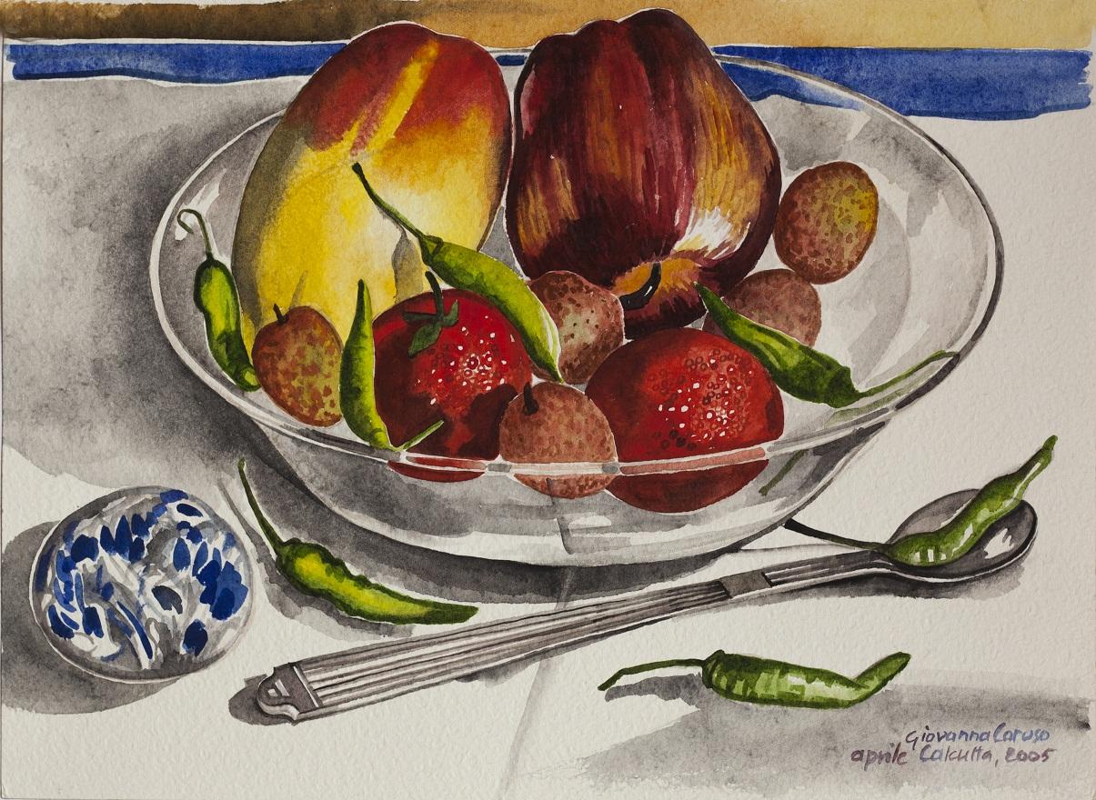 Calcutta, My Room, Watercolor, 31×22 cm