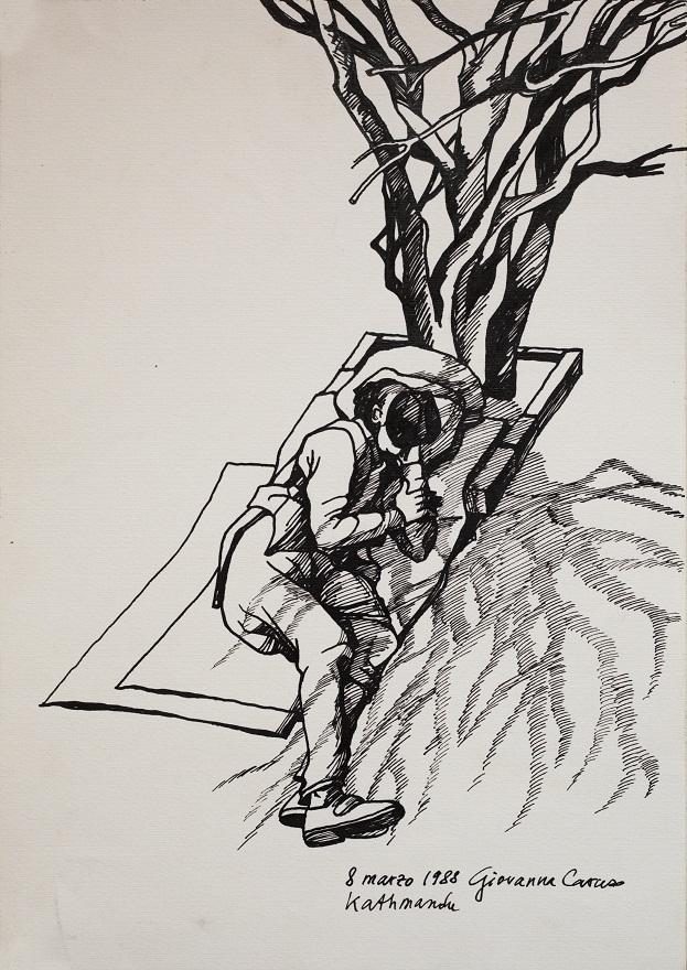 Siesta al Rosegarden, Ink, 36×25 cm