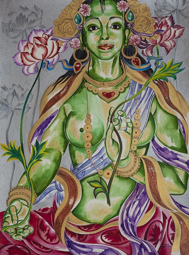 Green Tara, Watercolor, 46×73 cm