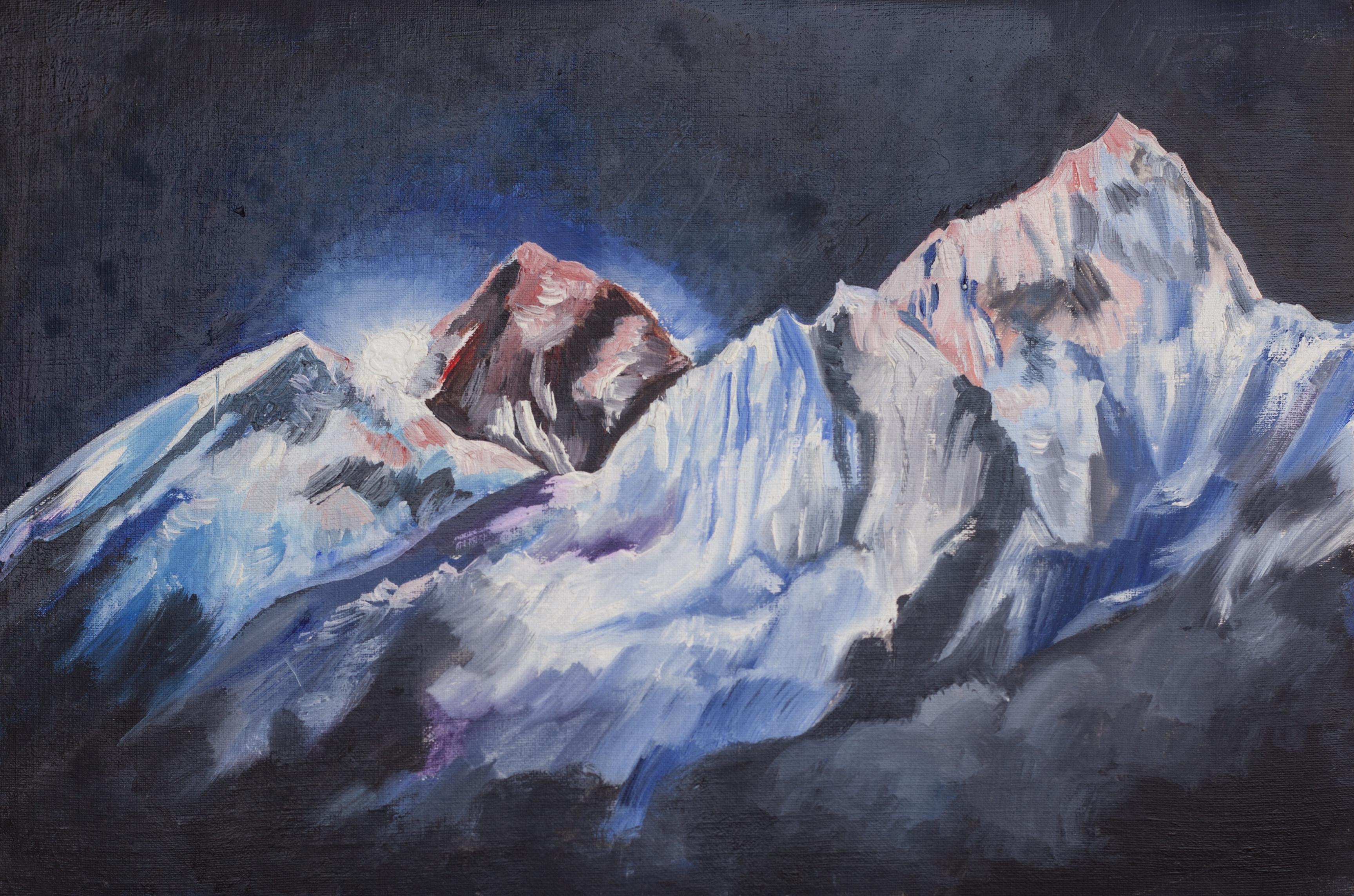 Sunrise on Everest, Oil, 24×16 cm