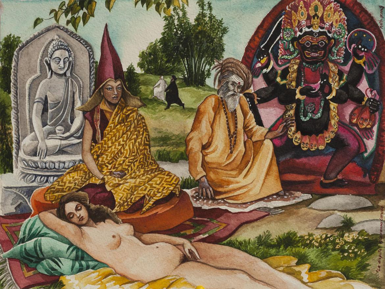 La Disputa, Watercolor, 36×25 cm