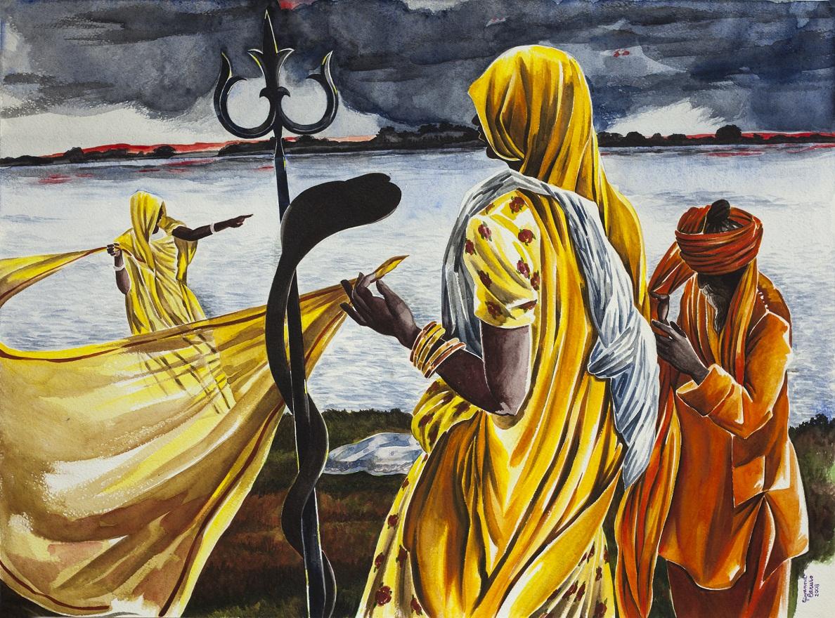 Varanasi Ghats, Watercolor, 46×72 cm