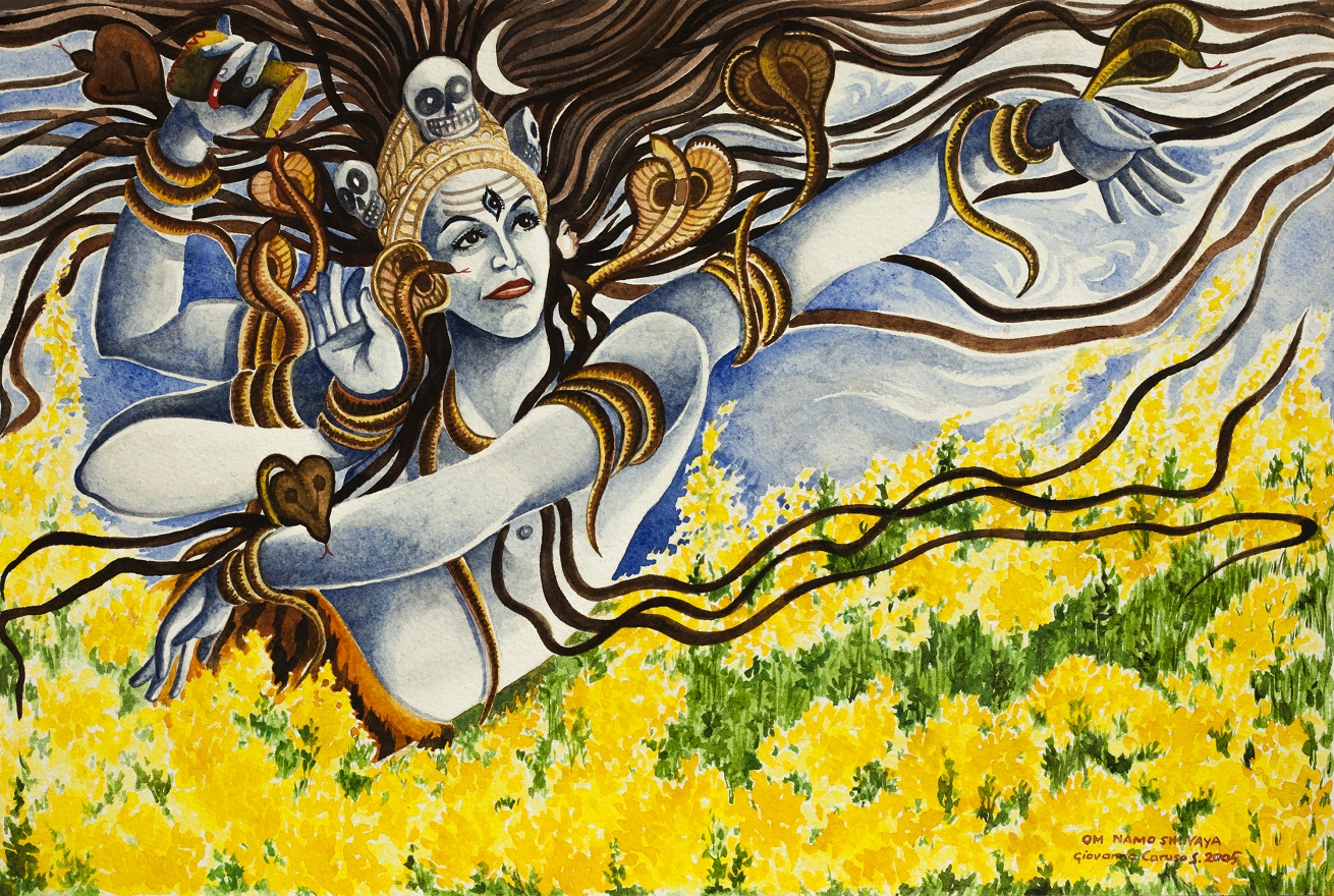 Nataraja in the mustard field, Watercolor, 46×31 cm