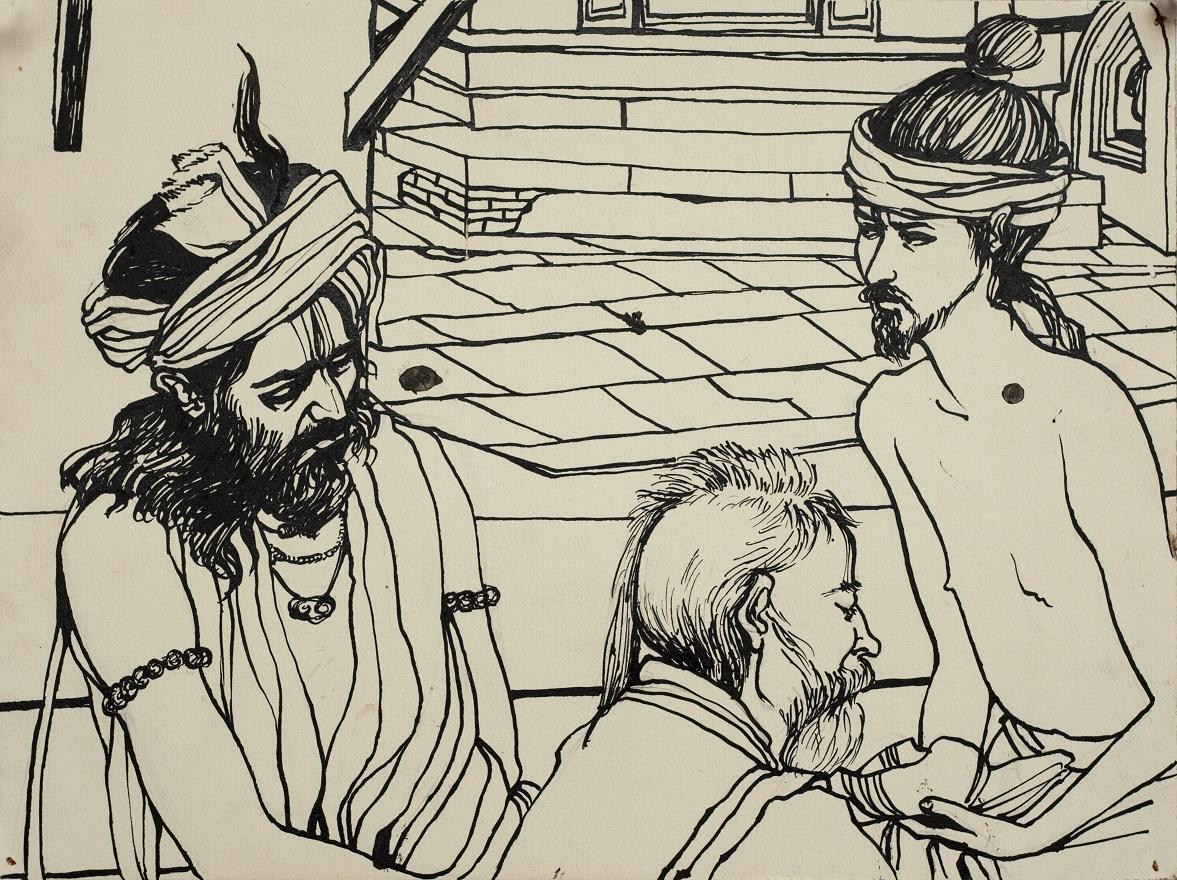 Shivaratri Babas, Ink, 25×36 cm