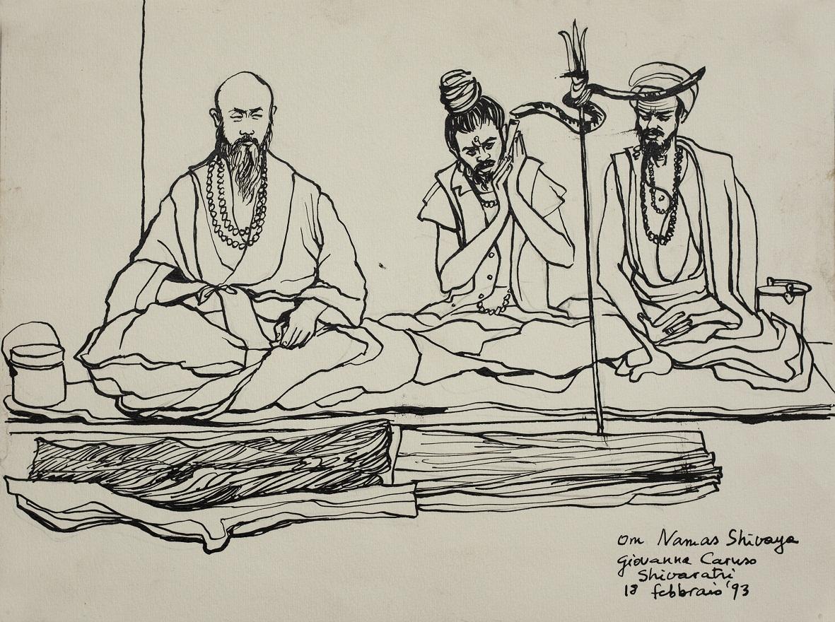 Om Nama Shivaya, Ink, 23×31 cm