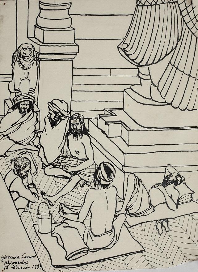 Shivaratri ,Ram Mandir, Ink, 23×31 cm