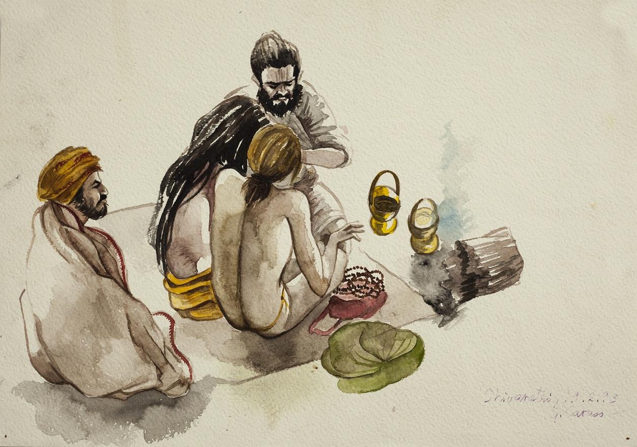 Shivaratri,Ram Mandir 2, Watercolor, 25×36 cm