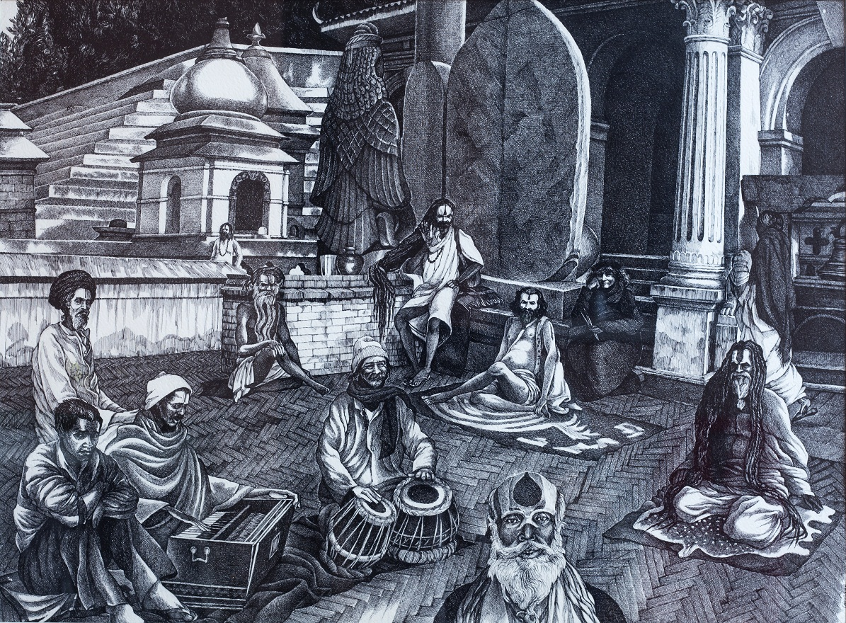 Babas from Pashupatinath on Holydays in Varanasi, Watercolor+Ink, 46×72 cm