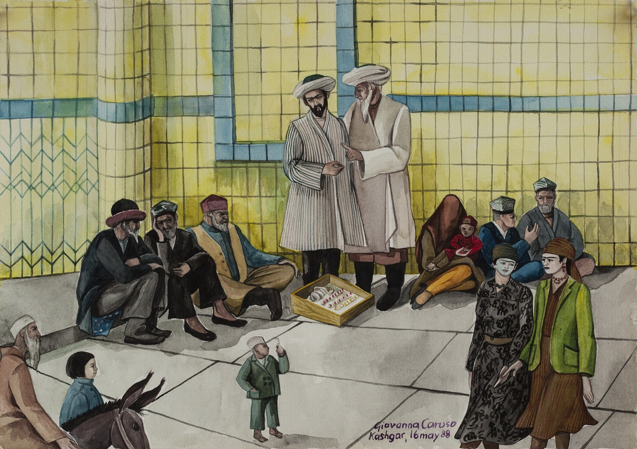 Uygurs, Watercolor, 36×25 cm