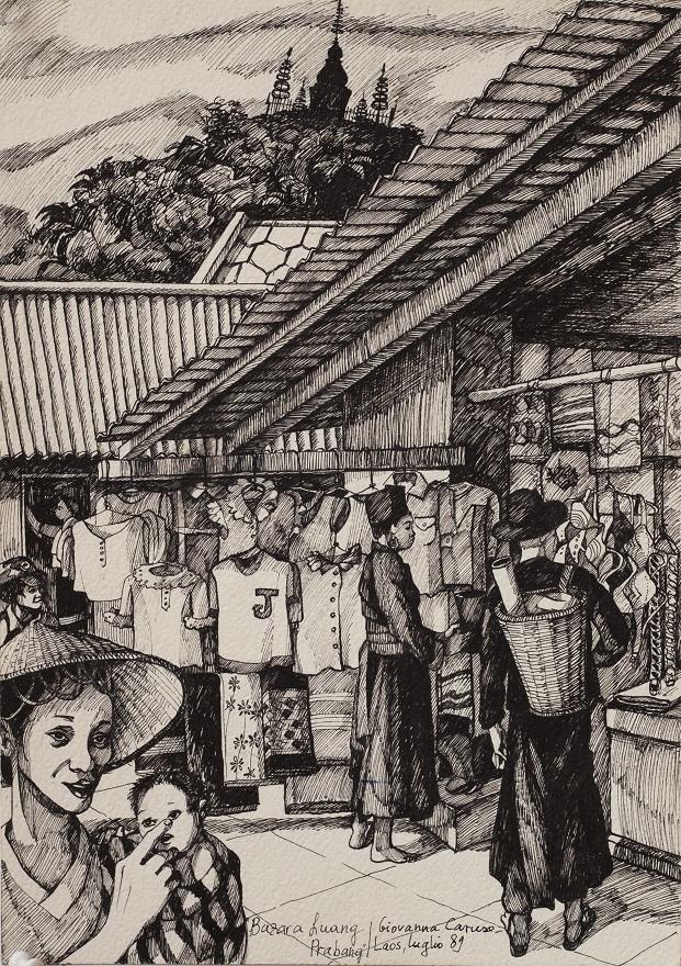 Luang Prabang Bazar, Ink, 25×36 cm