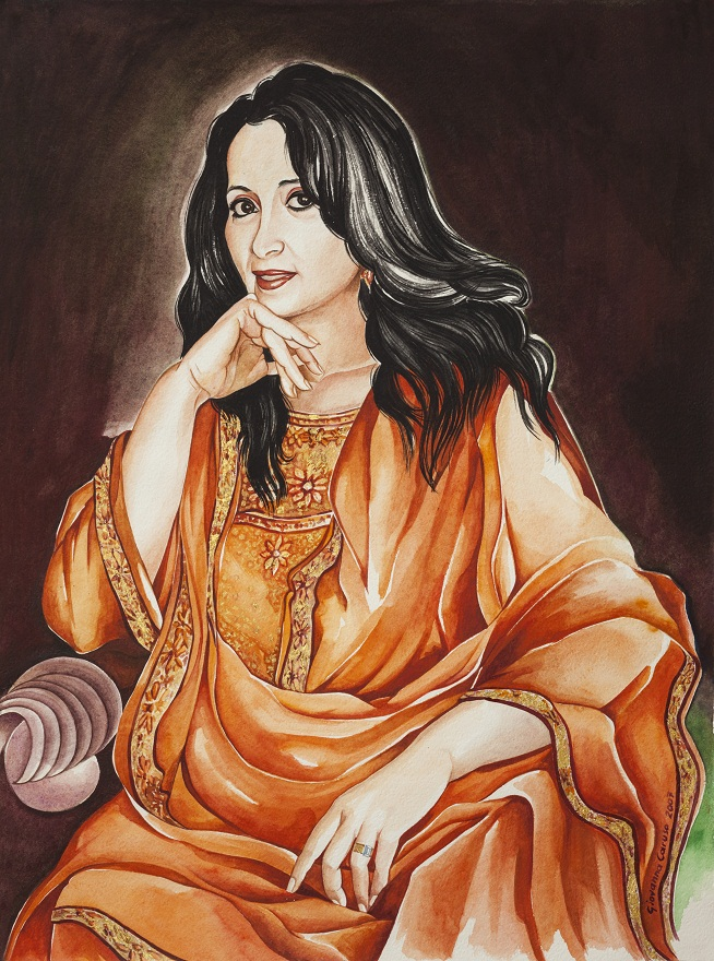 Tehnaz, Watercolor+Gold, 46×72 cm