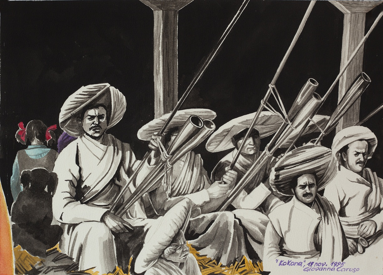 Musiciens of Dyokala, Watercolor, 36×26 cm