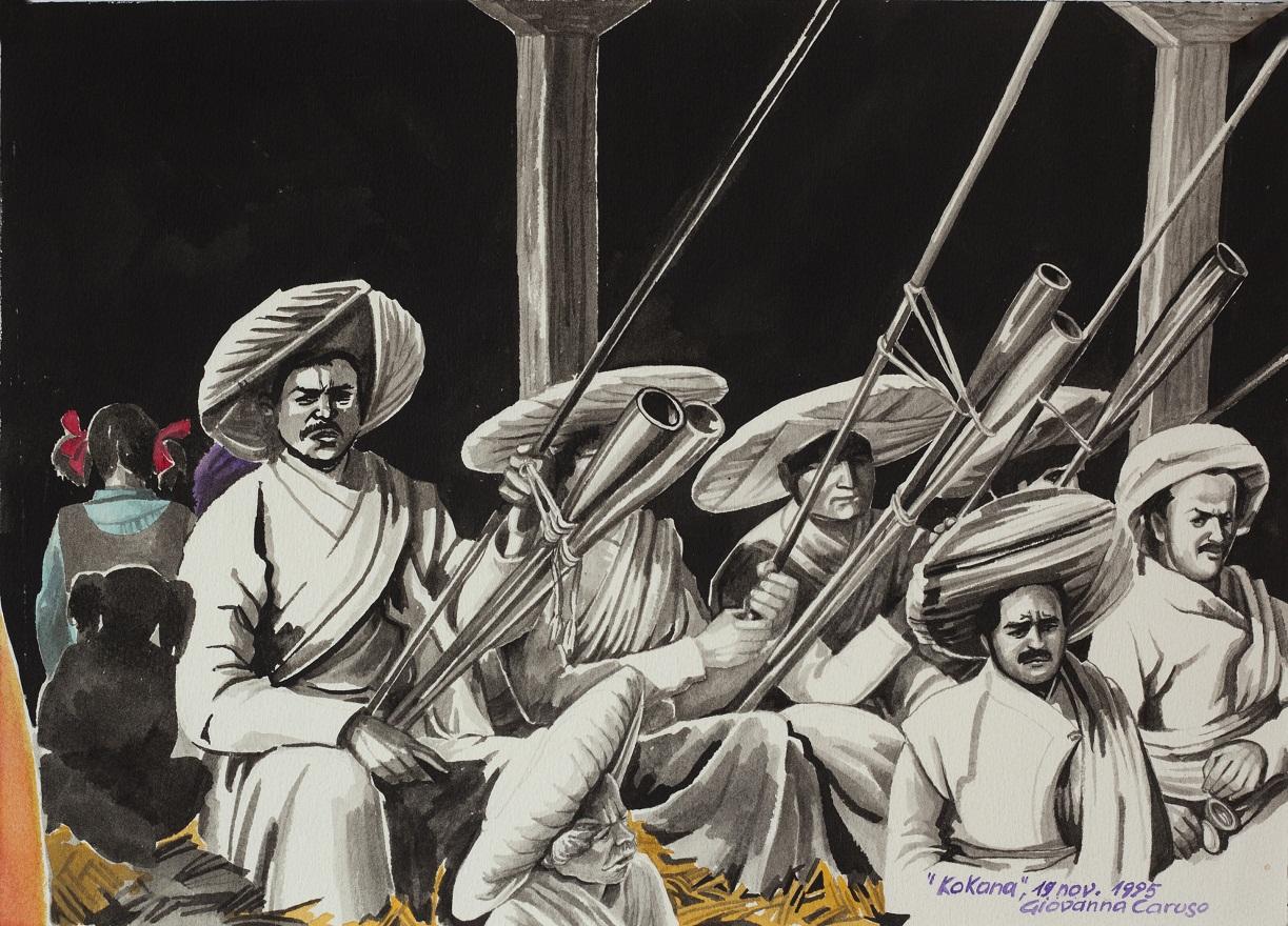 Musiciens of Dyokala, Watercolor, 36×26 cm