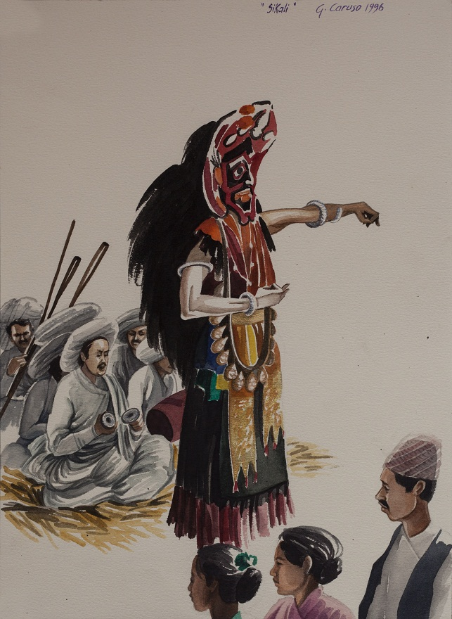 Bhairabi's Dance, Watercolor, 36×26 cm