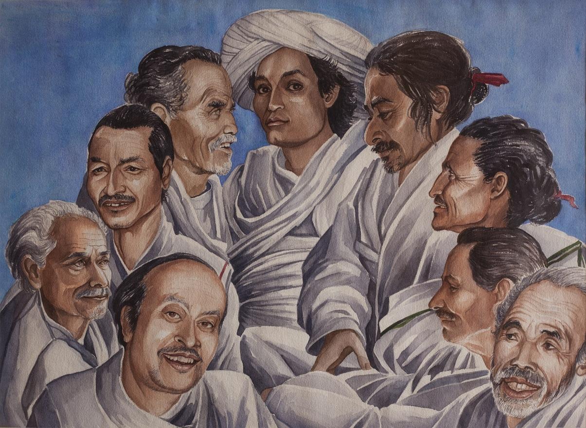 Navadurgas, Watercolor, 46×72 cm