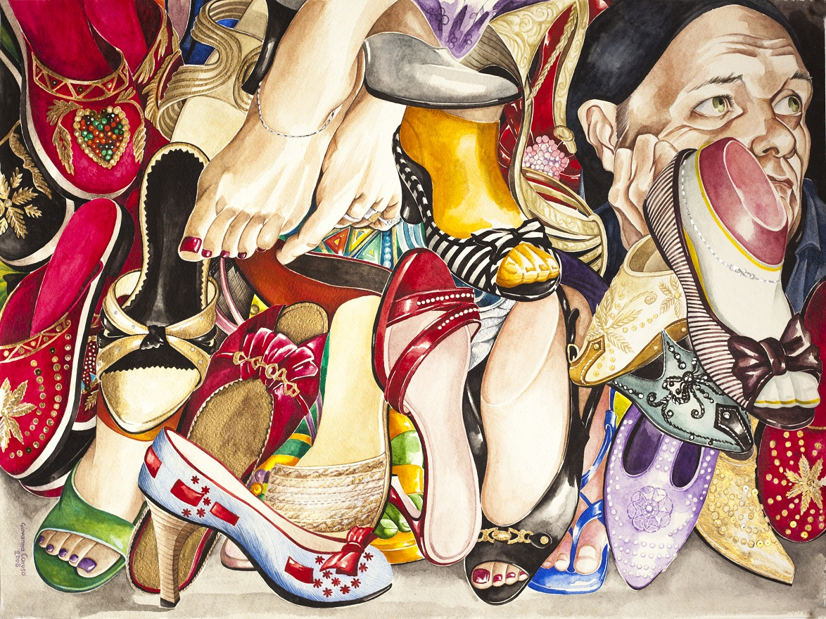 Give a girl the right shoes and she will conquer the world, Watercolor, 46×72 cm