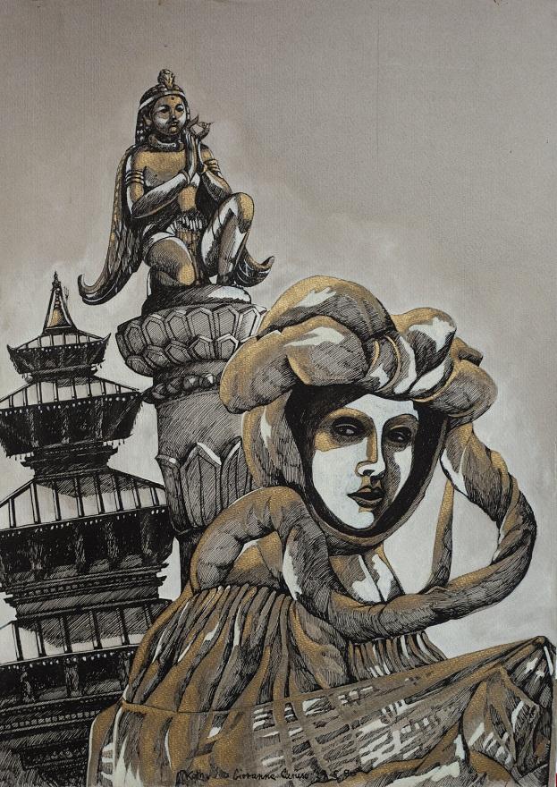 Venezia a Kathmandu, Ink, 35×49 cm