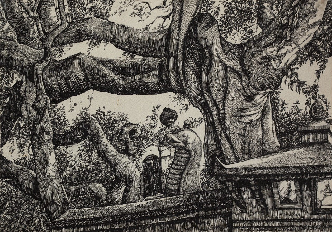 Ram Mandir in Bakthapur with Babas, Ink, 25×35 cm