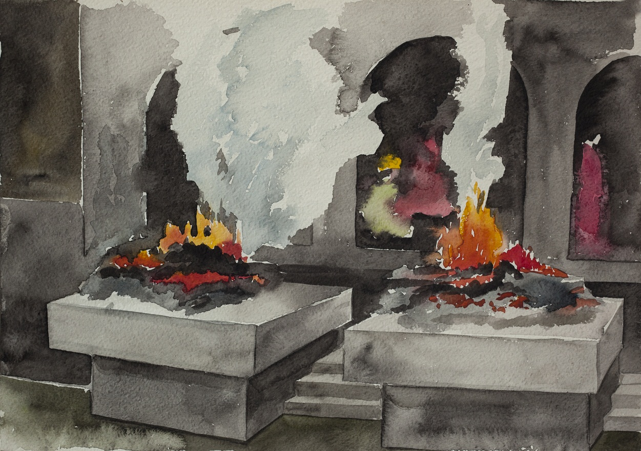 Pashupatinath Ghats, Watercolor, 36×25 cm