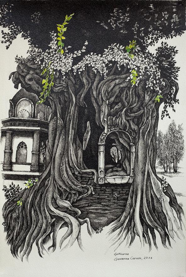 Peepul a Gokharna, Ink, 31×45 cm