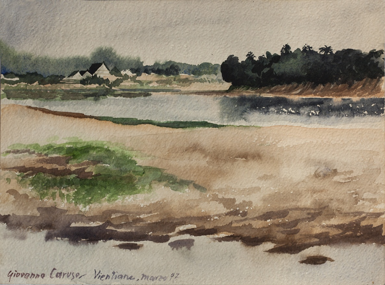 Vientiane, Mekong, Watercolor, 31×23 cm