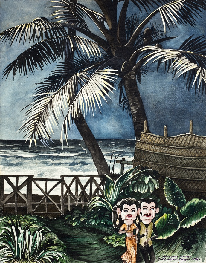 Fullmoon Dance, Watercolor, 41×32 cm