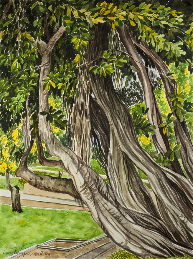 Banlampoo Park, Watercolor, 28×38 cm