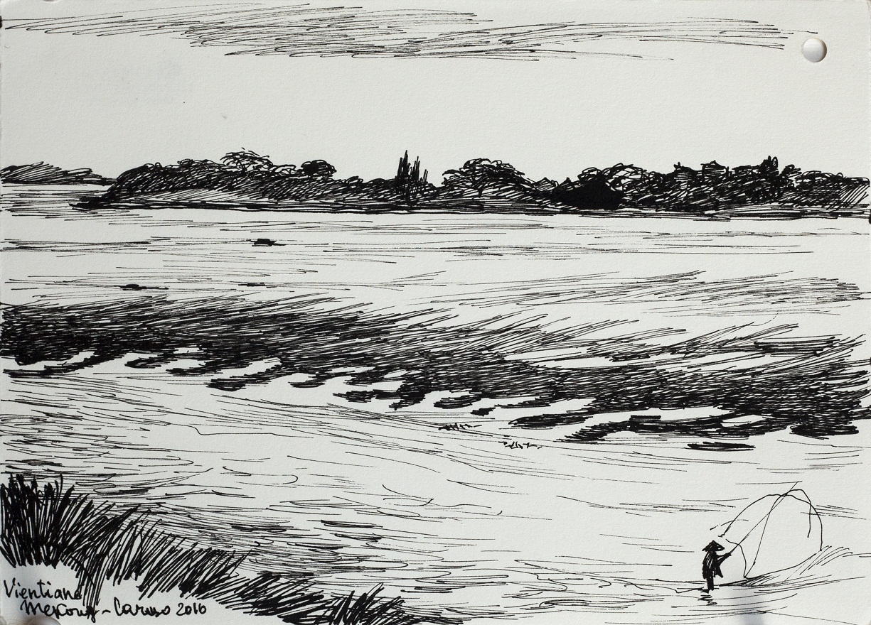 Pescatrice nel Mekong 1.0, Ink, 15×22 cm