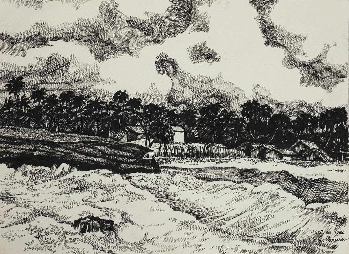 Nagoabeach dalla scogliera, Ink, 23×31 cm