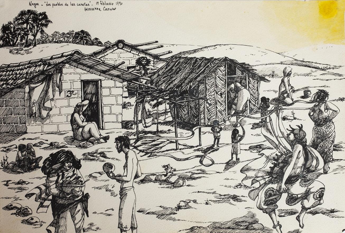 Los pueblos de las casetas, Watercolor+Ink, 31×46 cm