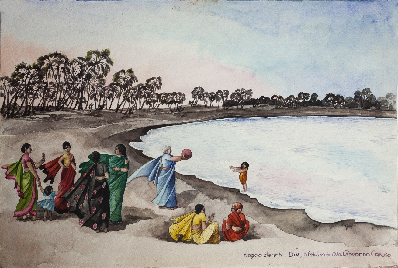 Twilight in Nagoa Beach, Watercolor, 31×46 cm