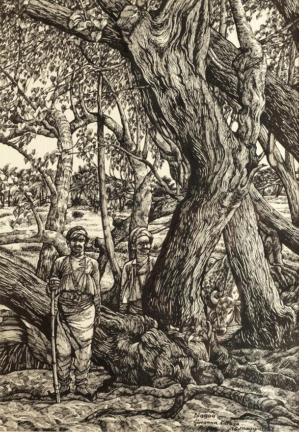 Gujarati Shepards, Ink, 25×36 cm