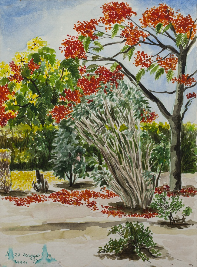 Garden in Diu, Watercolor, 23×31 cm