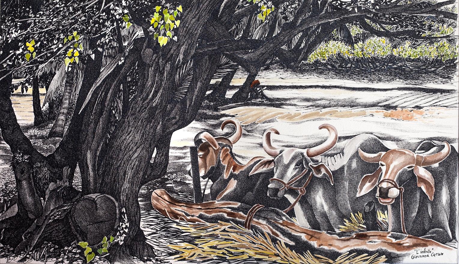 Quasil'infinito, Watercolor+Ink, 55×32 cm