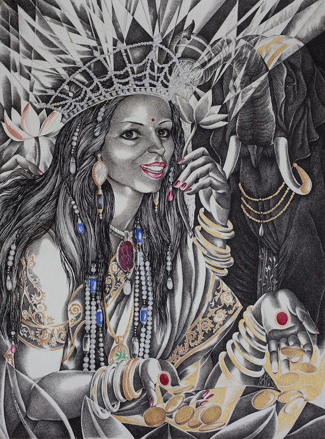 Shree Laxmi, Watercolor+Ink, 46×74 cm