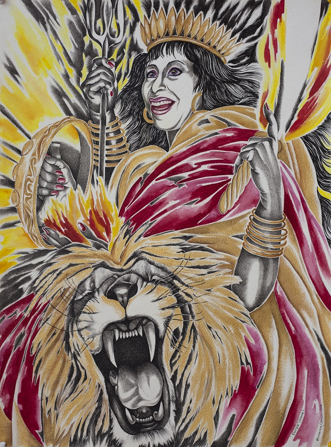 Durga, Watercolor+Ink, 46×75 cm