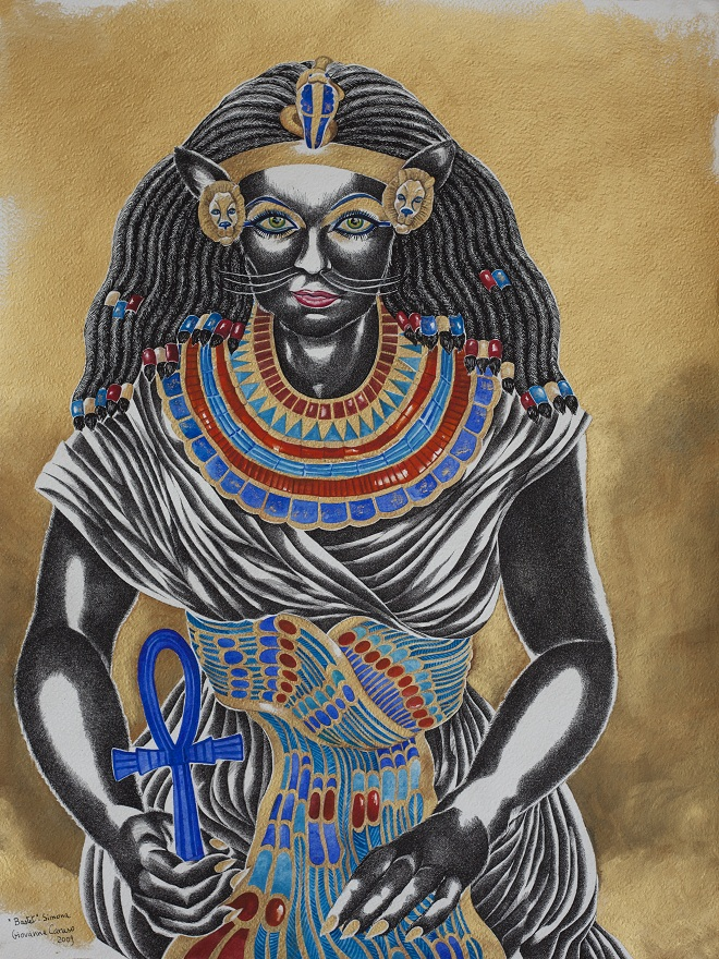 Bastet 1, Watercolor+Ink, 46×79 cm