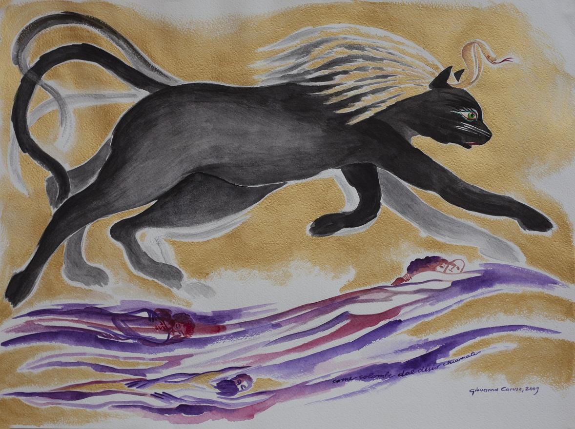 Bastet 2, Watercolor, 46×80 cm