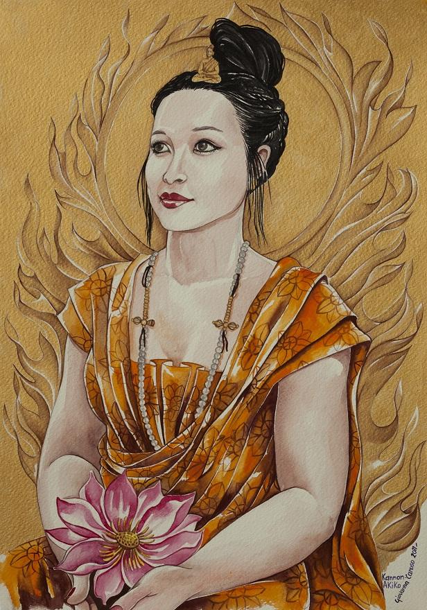 Kannon, Watercolor, 36×50 cm
