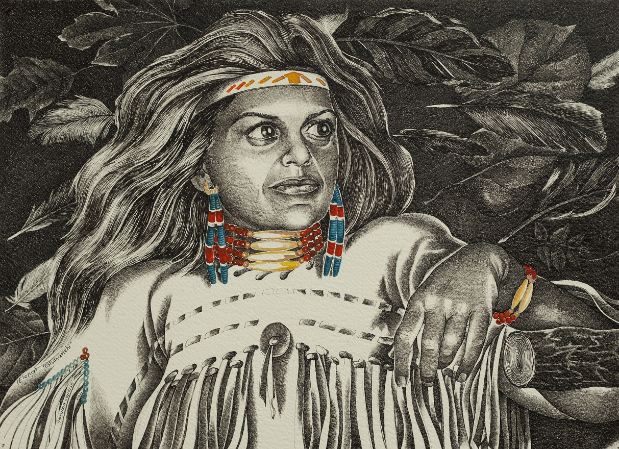 Etsanatlehi, Watercolor+Ink, 36×50 cm