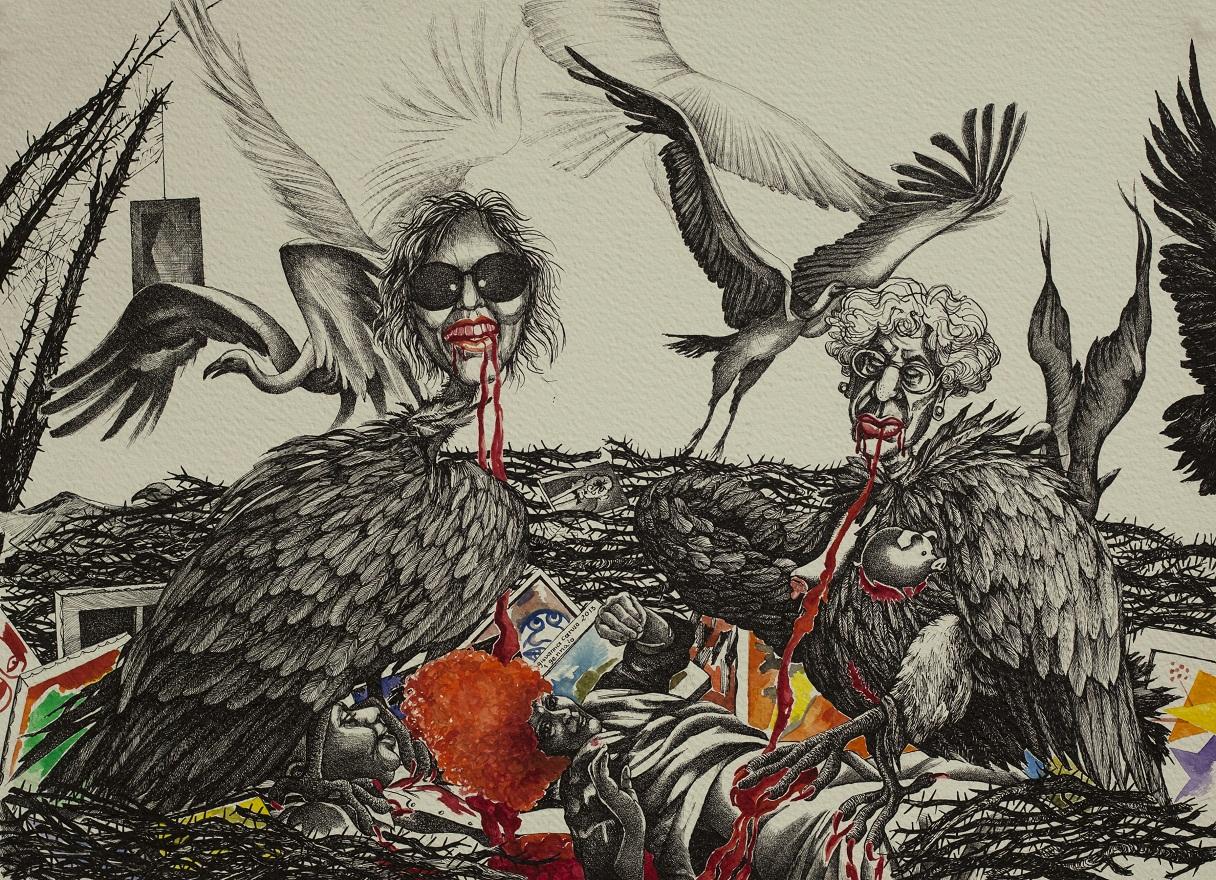 The Harpies, Watercolor+Ink, 36×50 cm