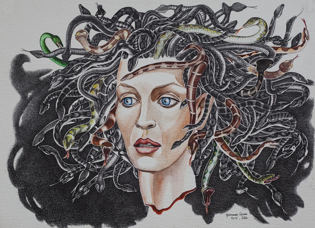 Medusa, Watercolor+Ink, 36×50 cm