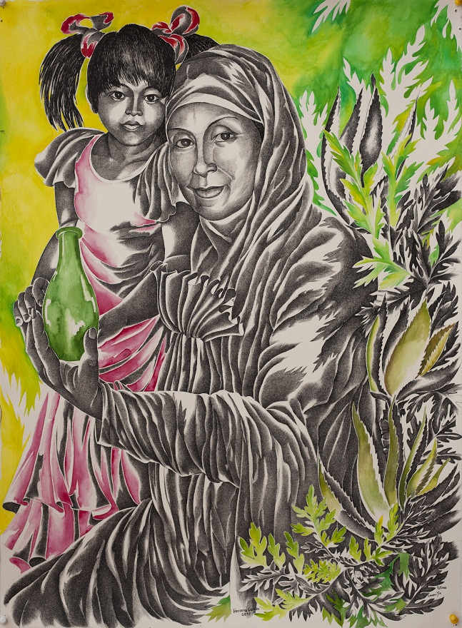 Kwan Yin, Watercolor+Ink, 74×66 cm
