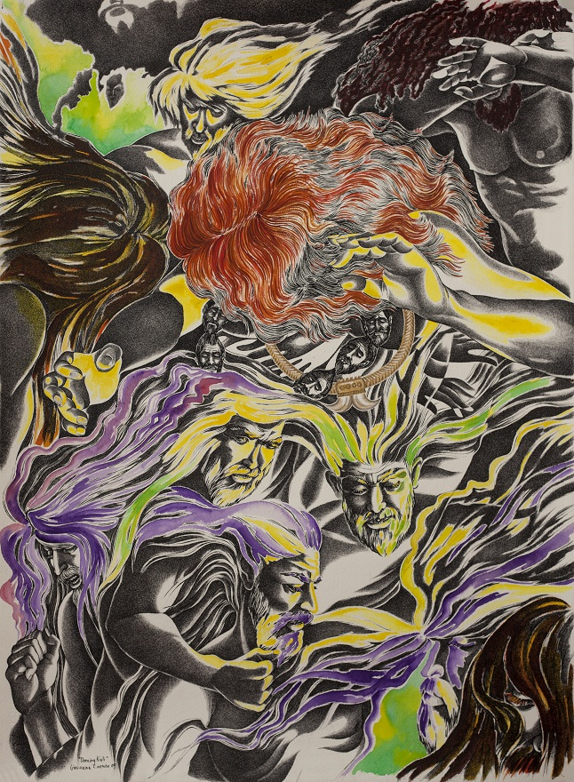 Dancing Kali, Watercolor+Ink, 56×76 cm