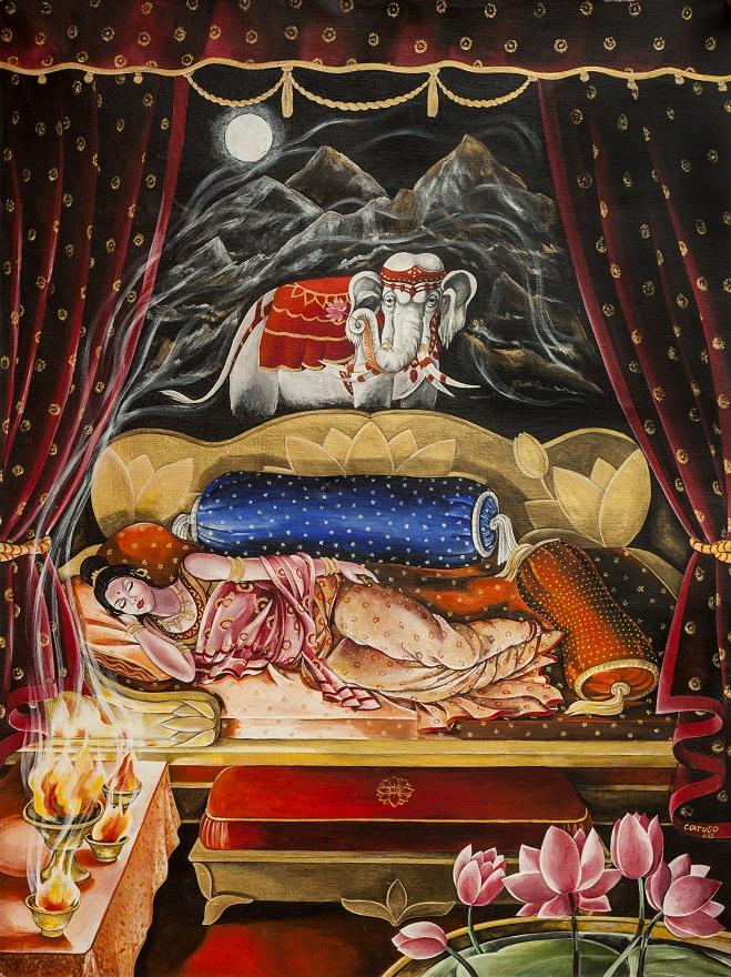 Mayadevi, Acrylic, 50×100 cm